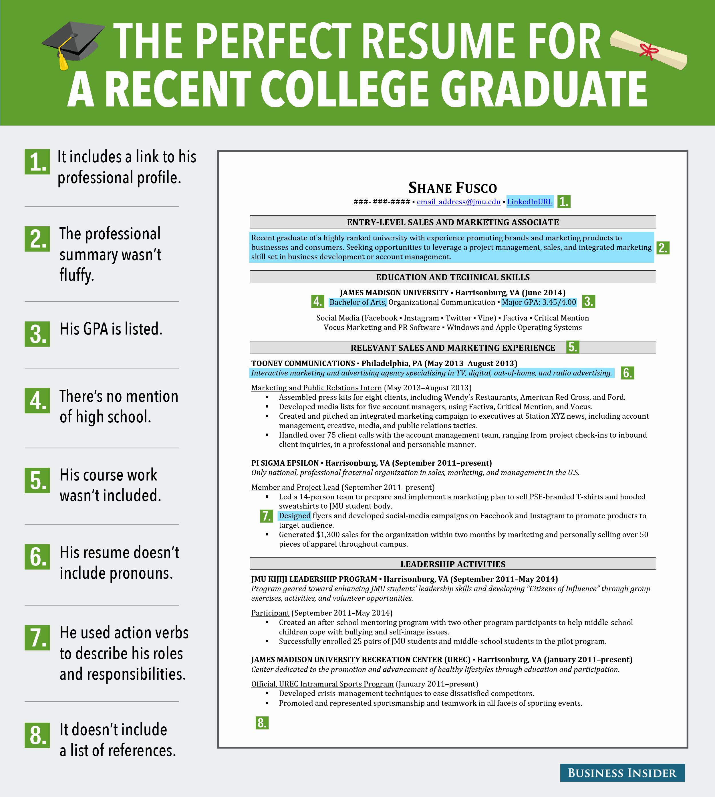 Resume for Recent College Grad Beautiful Excellent Resume for Recent Grad Business Insider