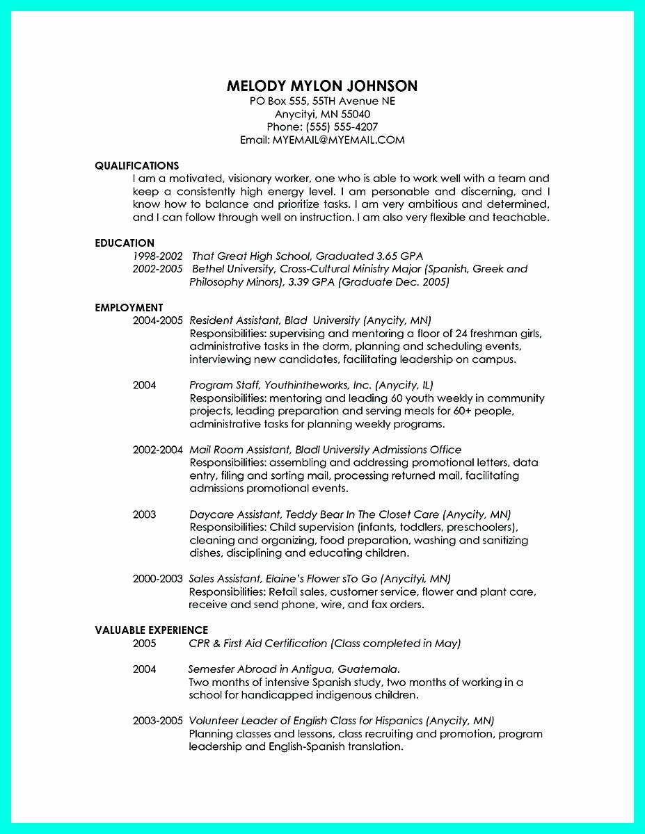 Resume for Recent College Grad Elegant Cool Sample Of College Graduate Resume with No Experience