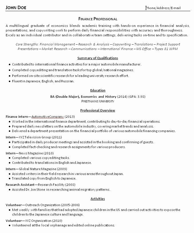 Resume for Recent College Grad Inspirational 2014 4 1 New New Grad Resume