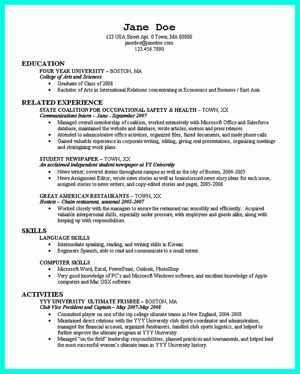 Resume for Recent College Grad Inspirational the Perfect College Resume Template to Get A Job