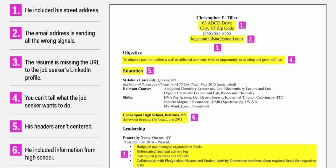 Resume for Recent College Grad Luxury Terrible Resume for A Recent College Grad Business Insider