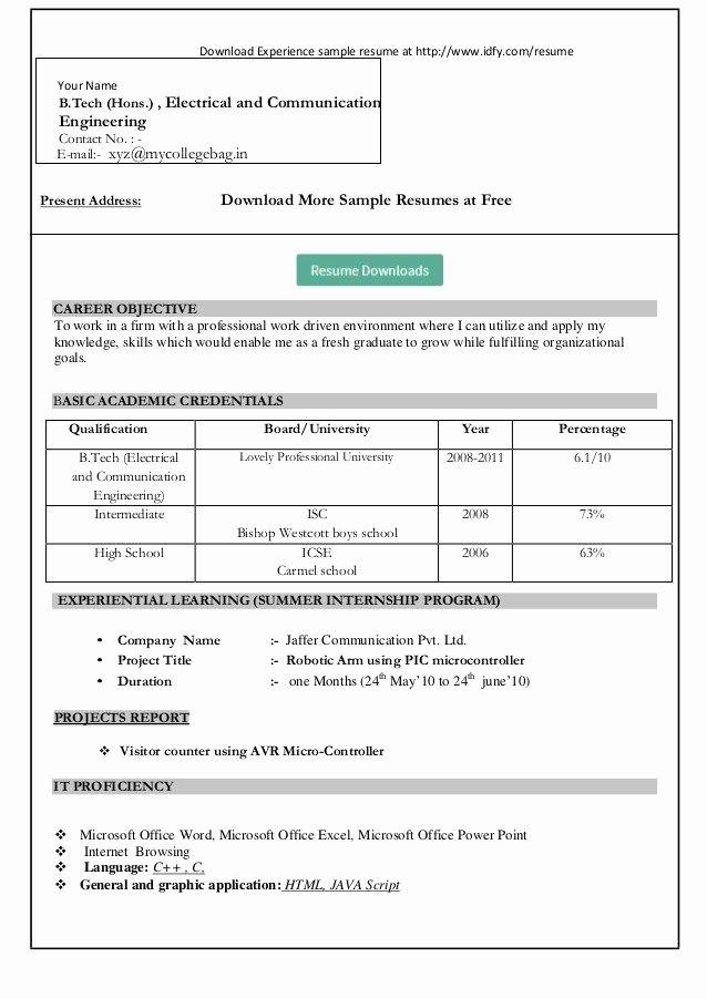Resume format In Microsoft Word Unique Resume format Download In Ms Word Download My Resume In Ms
