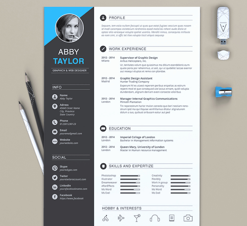 Resume format In Ms Word Elegant 65 Eye Catching Cv Templates for Ms Word