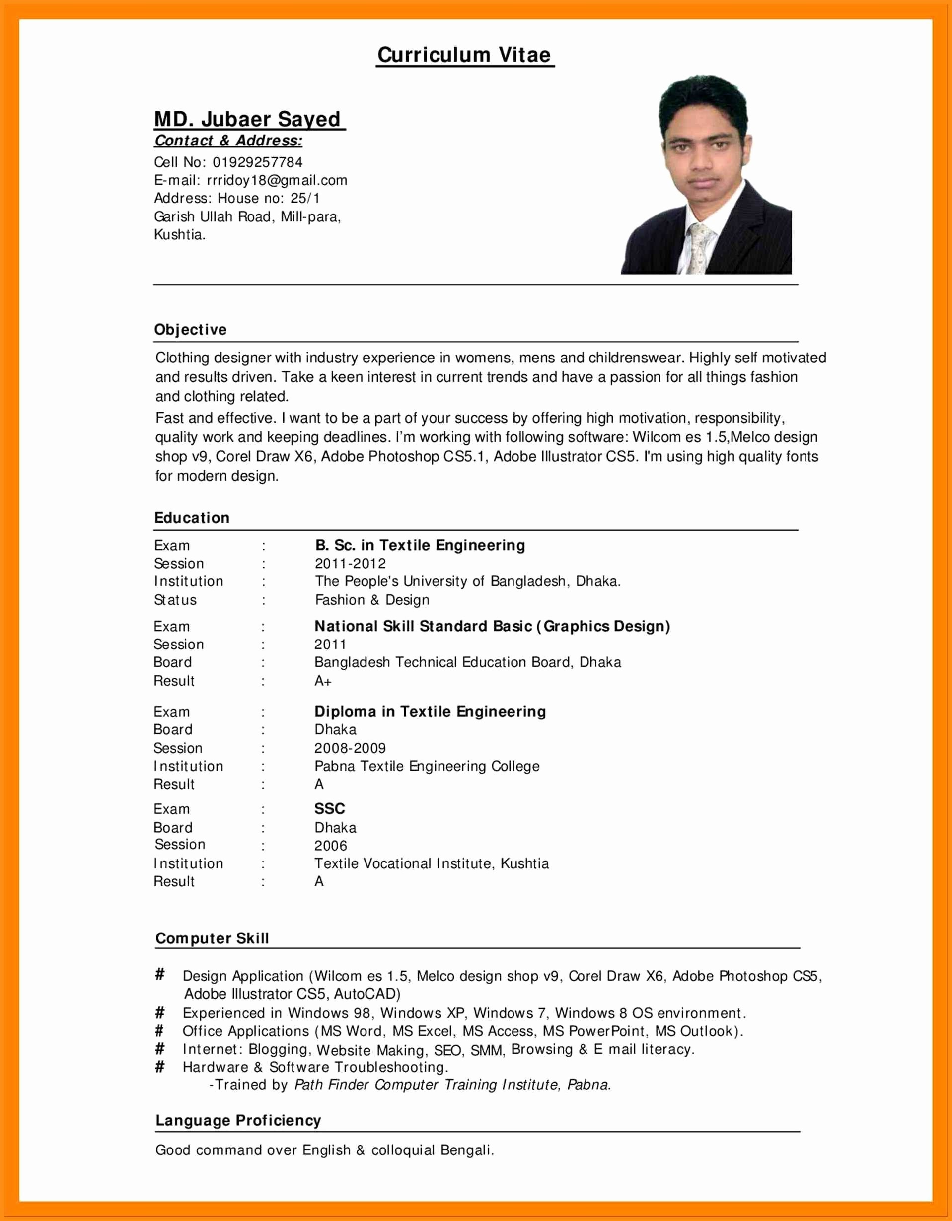 Resume format In Ms Word Lovely 12 Curriculum Vitae Word