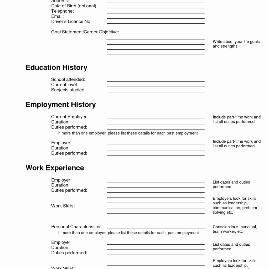 Resume forms to Fill Out Awesome Free Fill Up Resume
