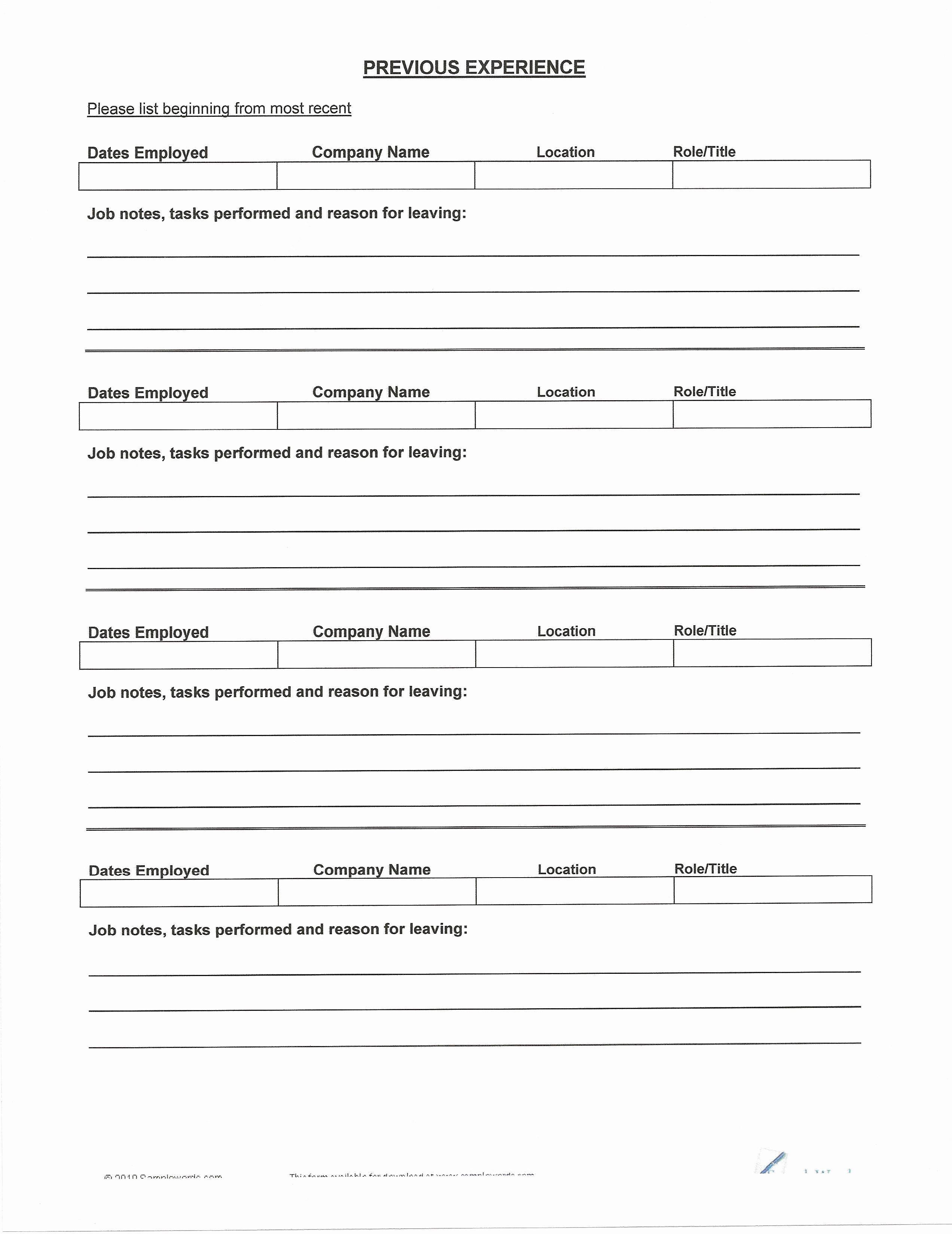 blank cv to fill in