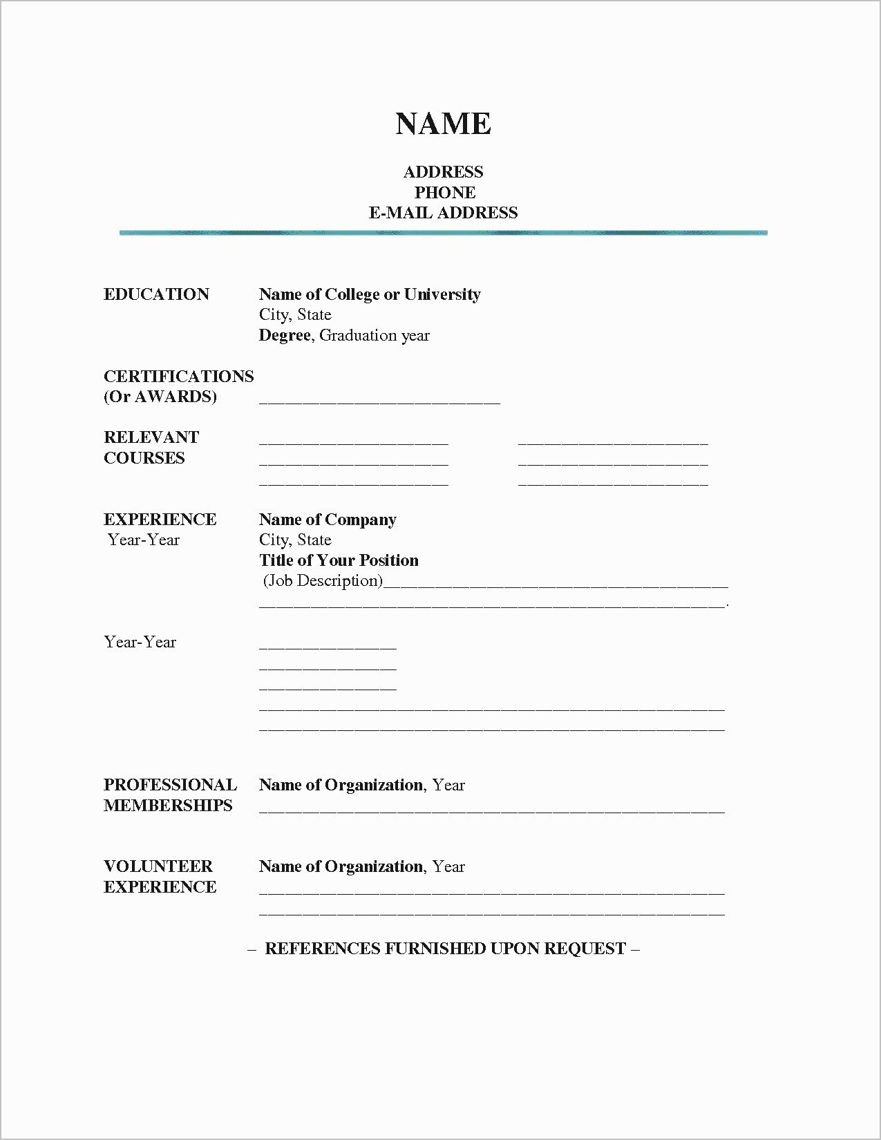 Resume forms to Fill Out Inspirational Blank Resume Pdf Unique Blank Resume forms to Fill Out
