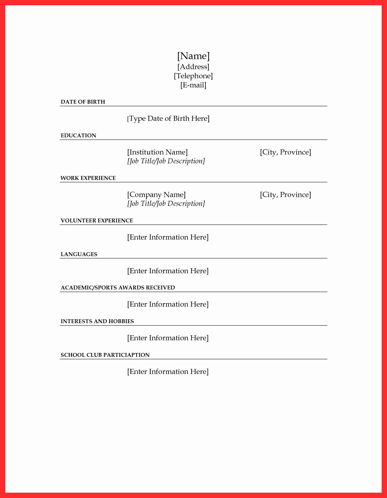 Resume forms to Fill Out Unique Fill In Resume form