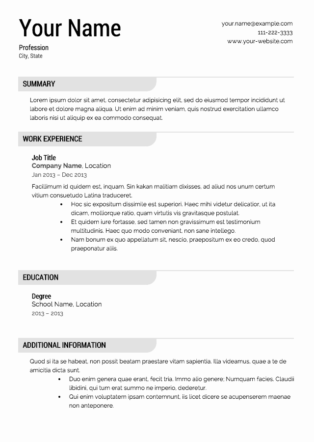 Resume Free Templates to Download Best Of Free Resume Templates