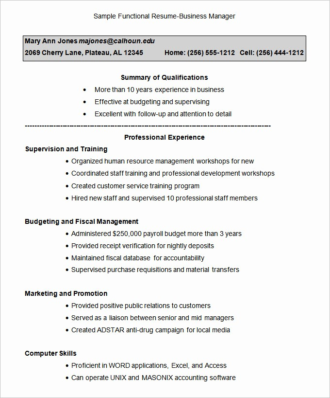 Resume Free Templates to Download Inspirational Functional Resume Template – 15 Free Samples Examples