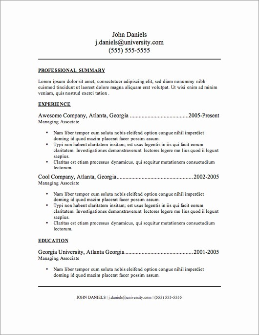 Resume Free Templates to Download Lovely 12 Resume Templates for Microsoft Word Free Download