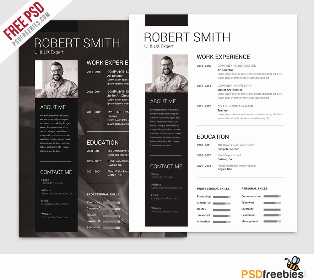 Resume Free Templates to Download New 25 Best Free Resume Cv Templates Psd Download