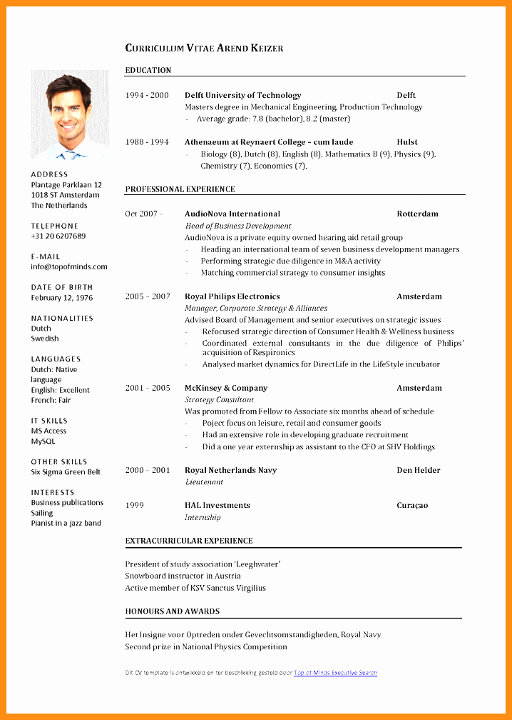 Resume Free Templates to Download Unique 6 Curriculum Vitae Template Word Free