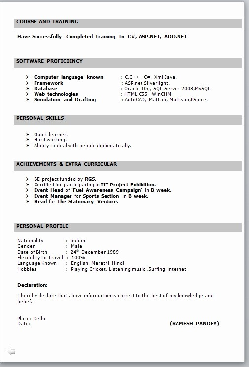 Resume Models In Word format Awesome Resume format for Freshers