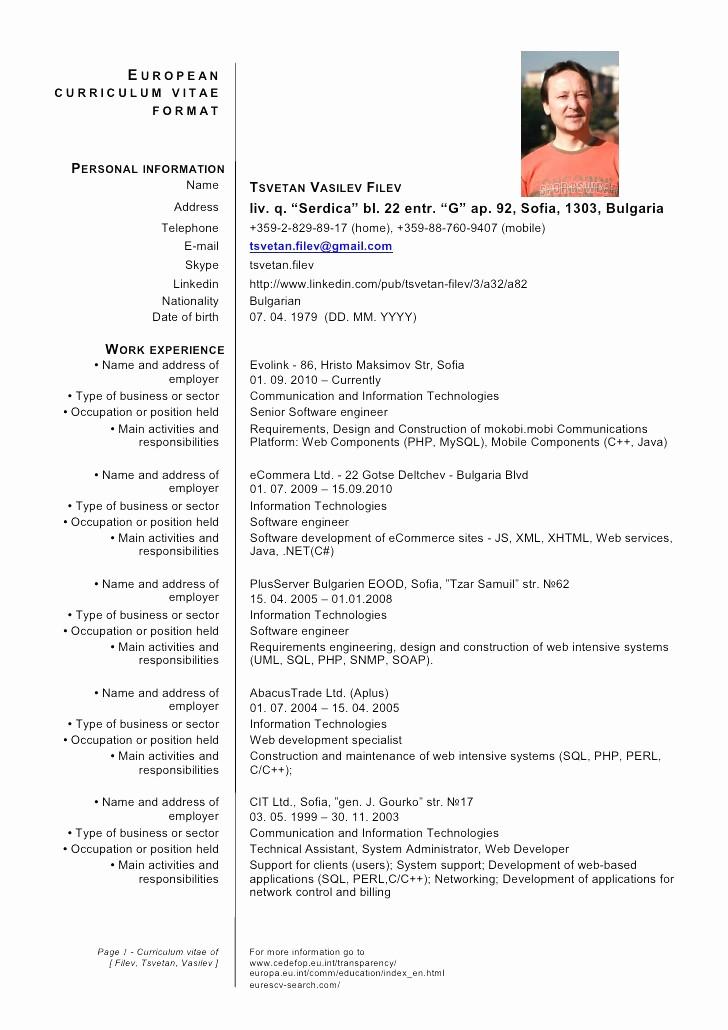 Resume Models In Word format Beautiful Curriculum Vitae European format Word