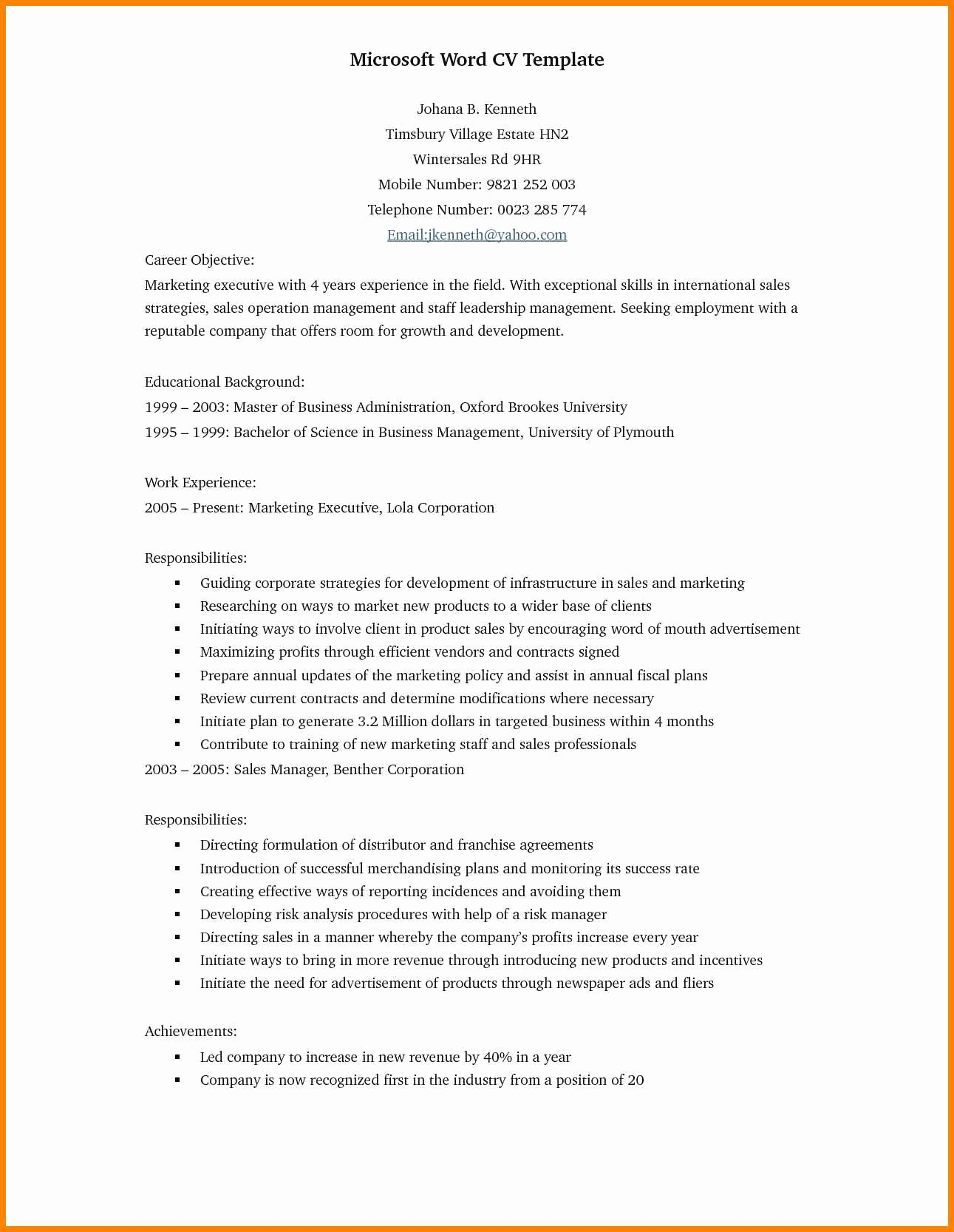 Resume Models In Word format Fresh 17 Cv format In Word Doc