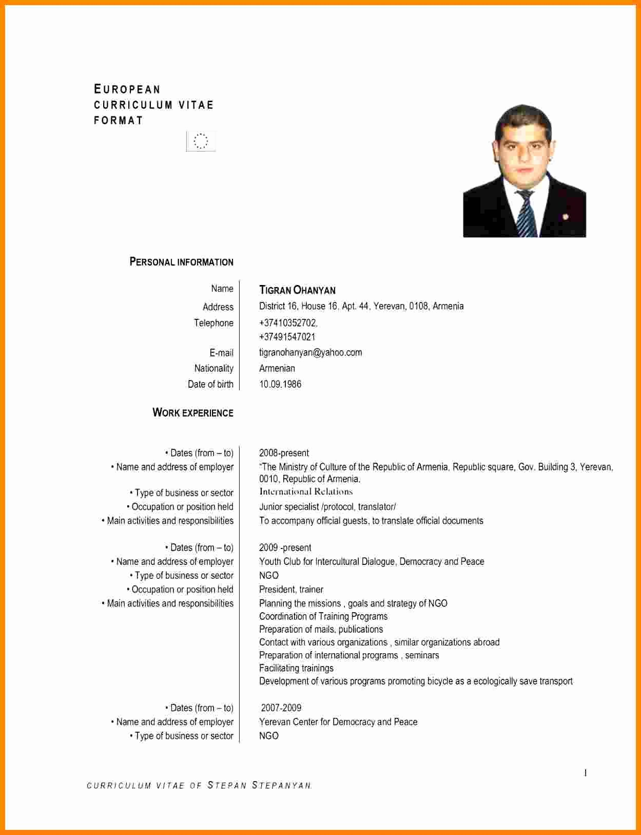 Resume Models In Word format Fresh 5 Curriculum Vitae European format Word