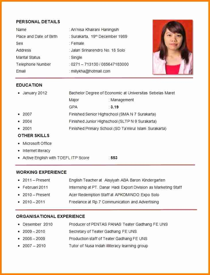 Resume Models In Word format Fresh 6 English Cv Model Word