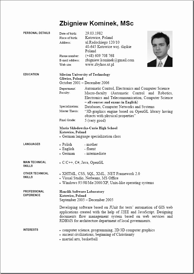Resume Models In Word format Fresh 9 English Resume format