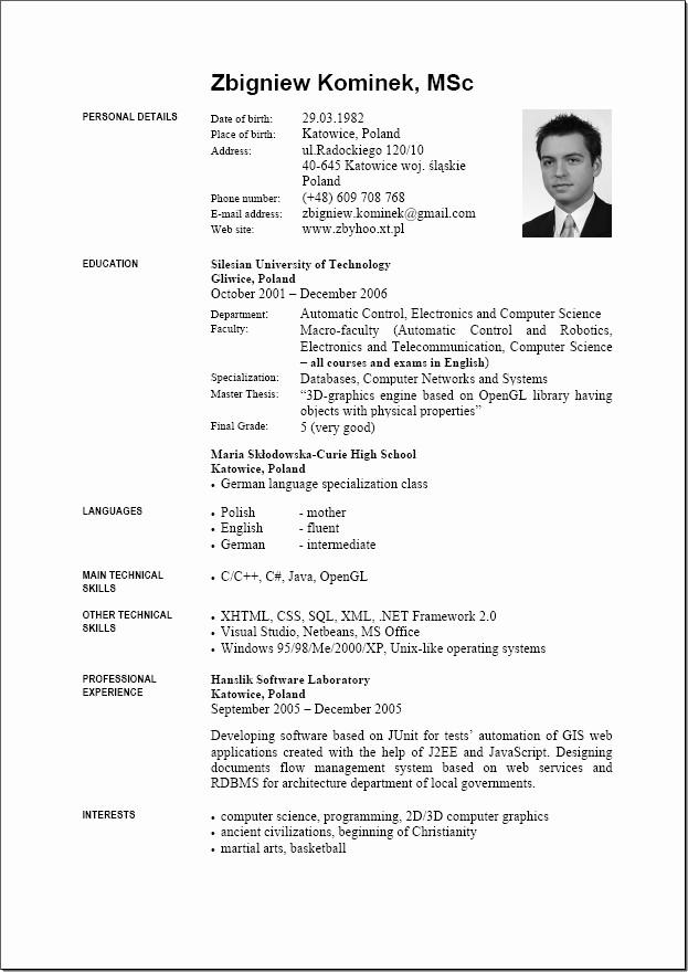 Resume Models In Word format Fresh 9 English Resume format