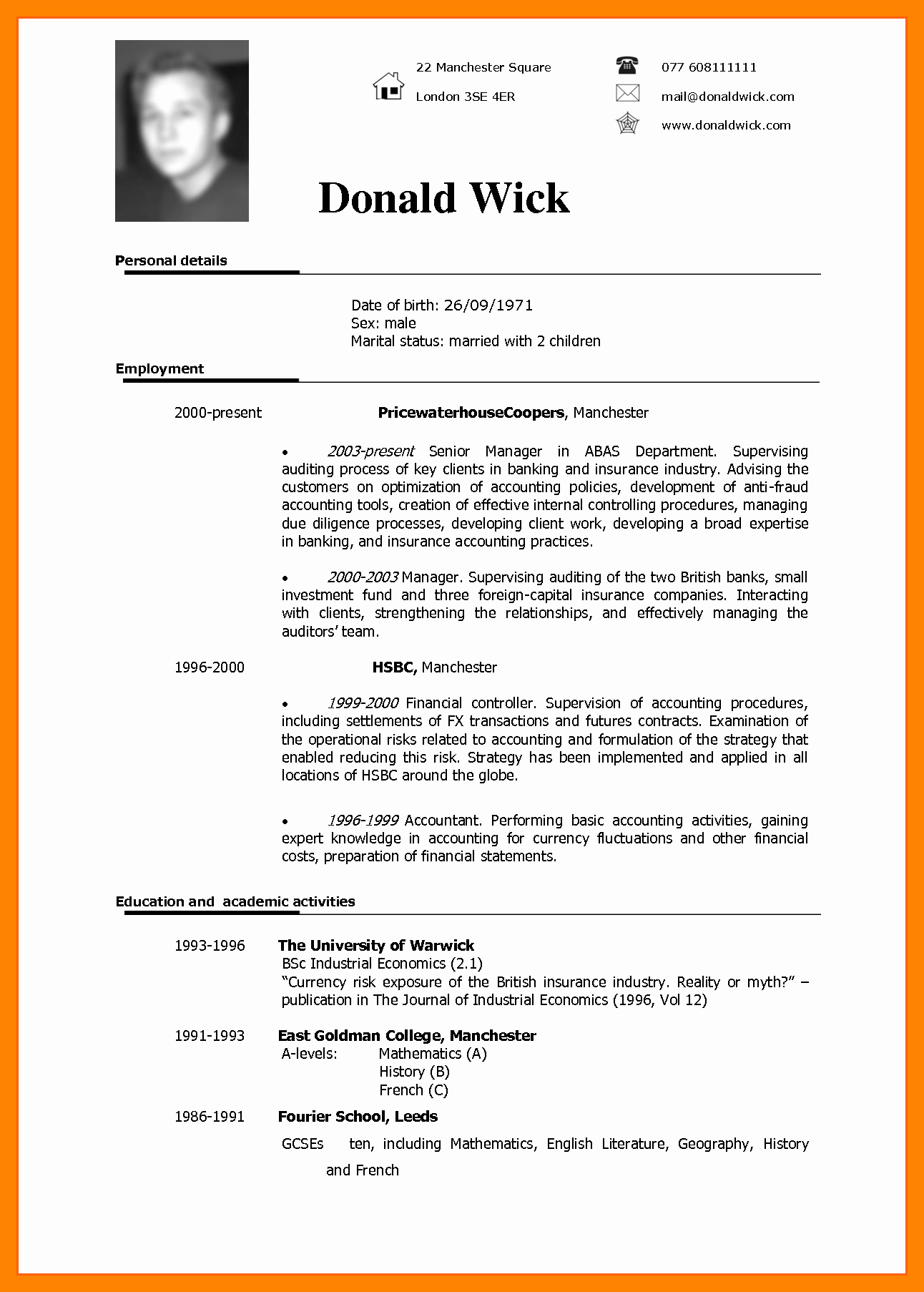 Resume Models In Word format Lovely 9 Cv In English Example Doc