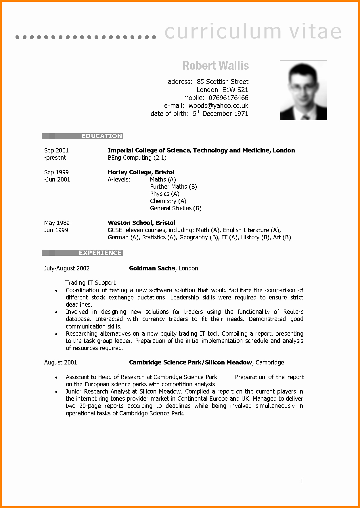 Resume Models In Word format Luxury 7 English Cv Model