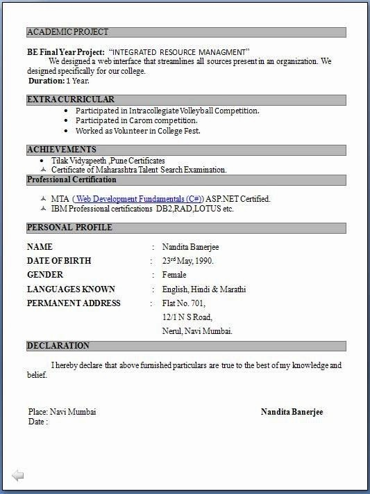 Resume Models In Word format Luxury Resume format Pdf for Freshers Latest Professional Resume
