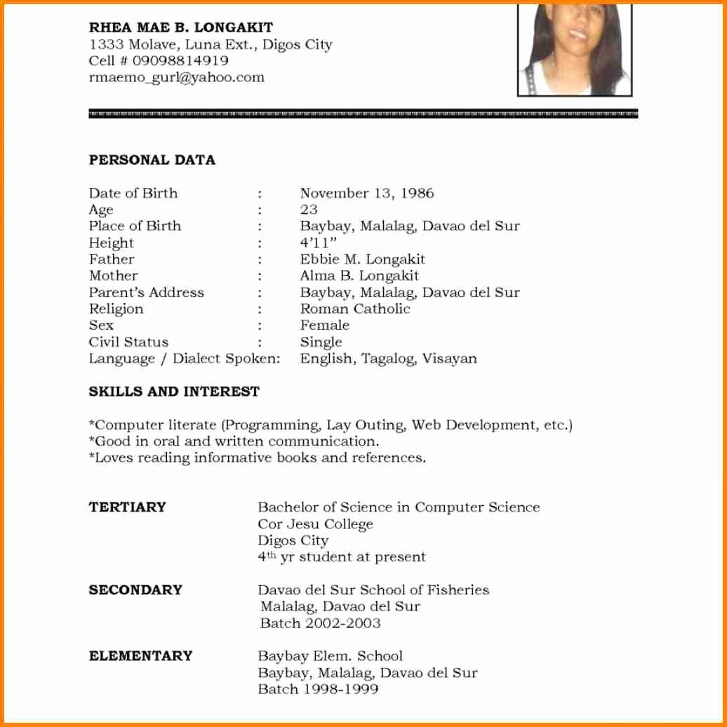 Resume Models In Word format Unique 6 English Cv Model Word