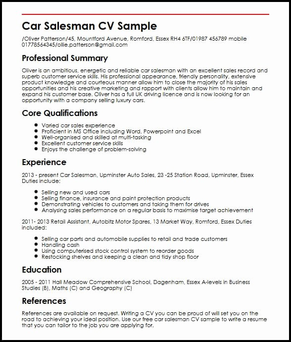 Resume Setup On Microsoft Word Best Of Car Salesman Cv Sample