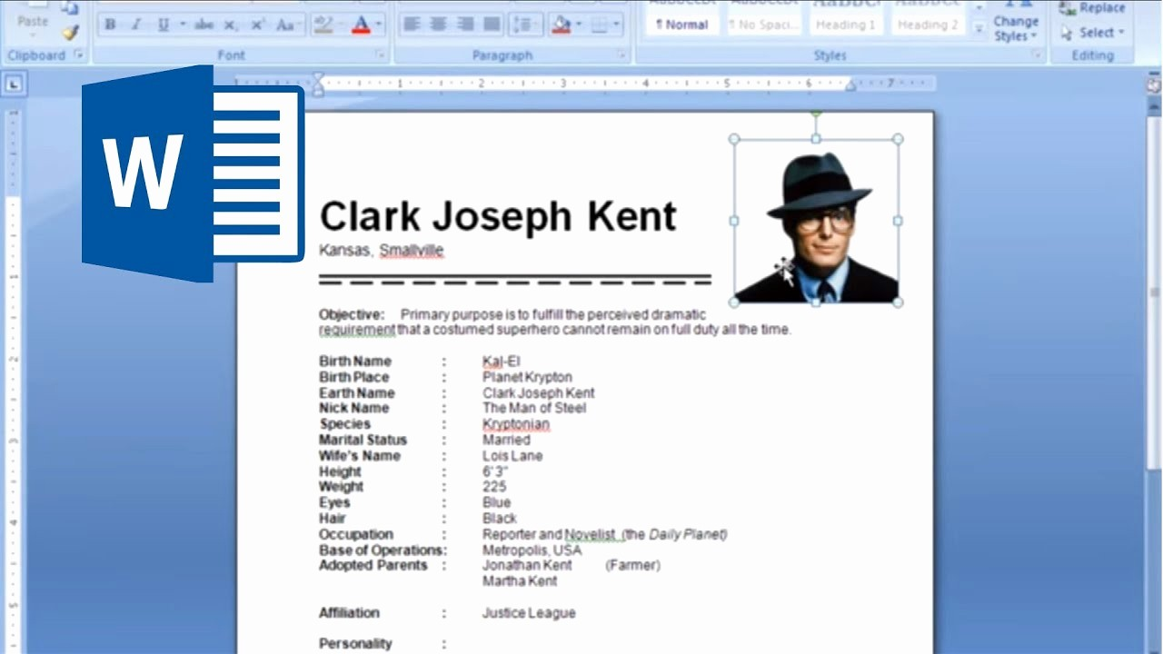 Resume Setup On Microsoft Word Elegant Ms Word Tutorial How to Insert Picture In Resume