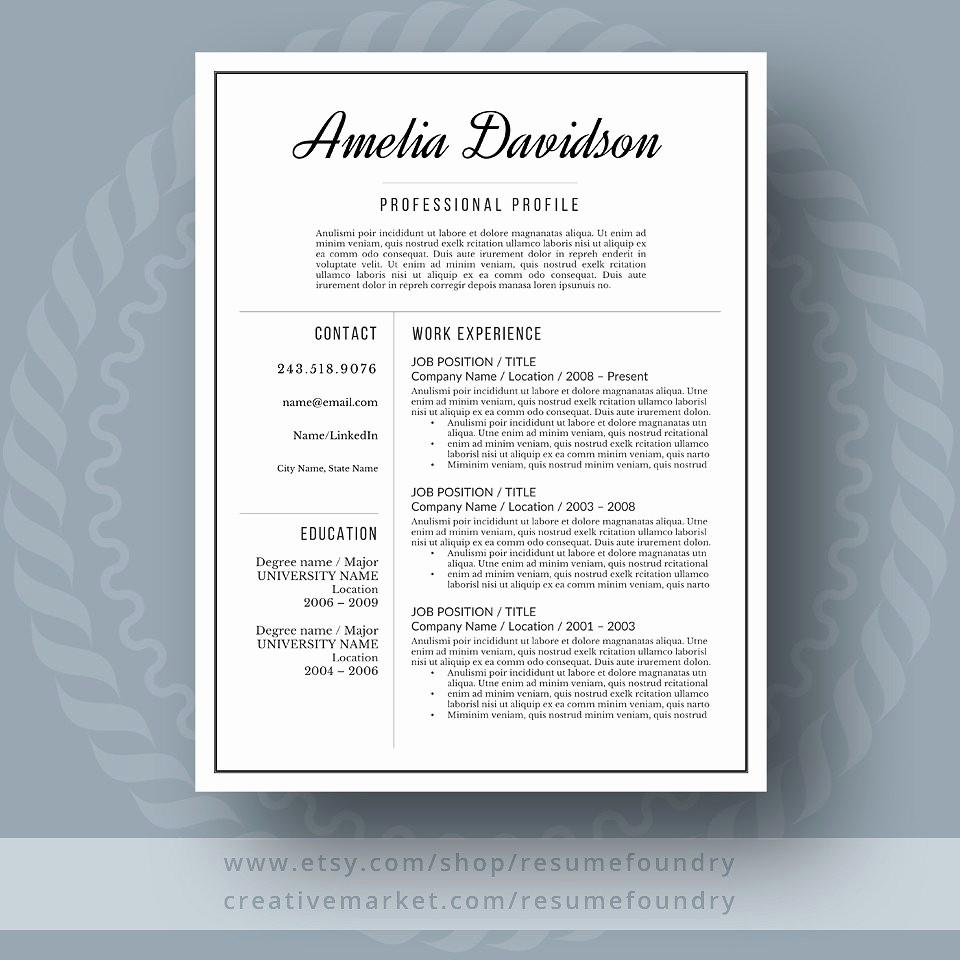 Resume Setup On Microsoft Word Elegant Resume and Cover Letter Resume Templates Creative Market
