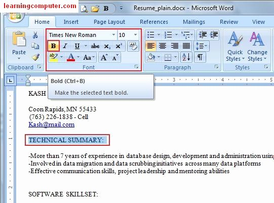Resume Setup On Microsoft Word Unique Learn Microsoft Fice Word 2007 Home Tab