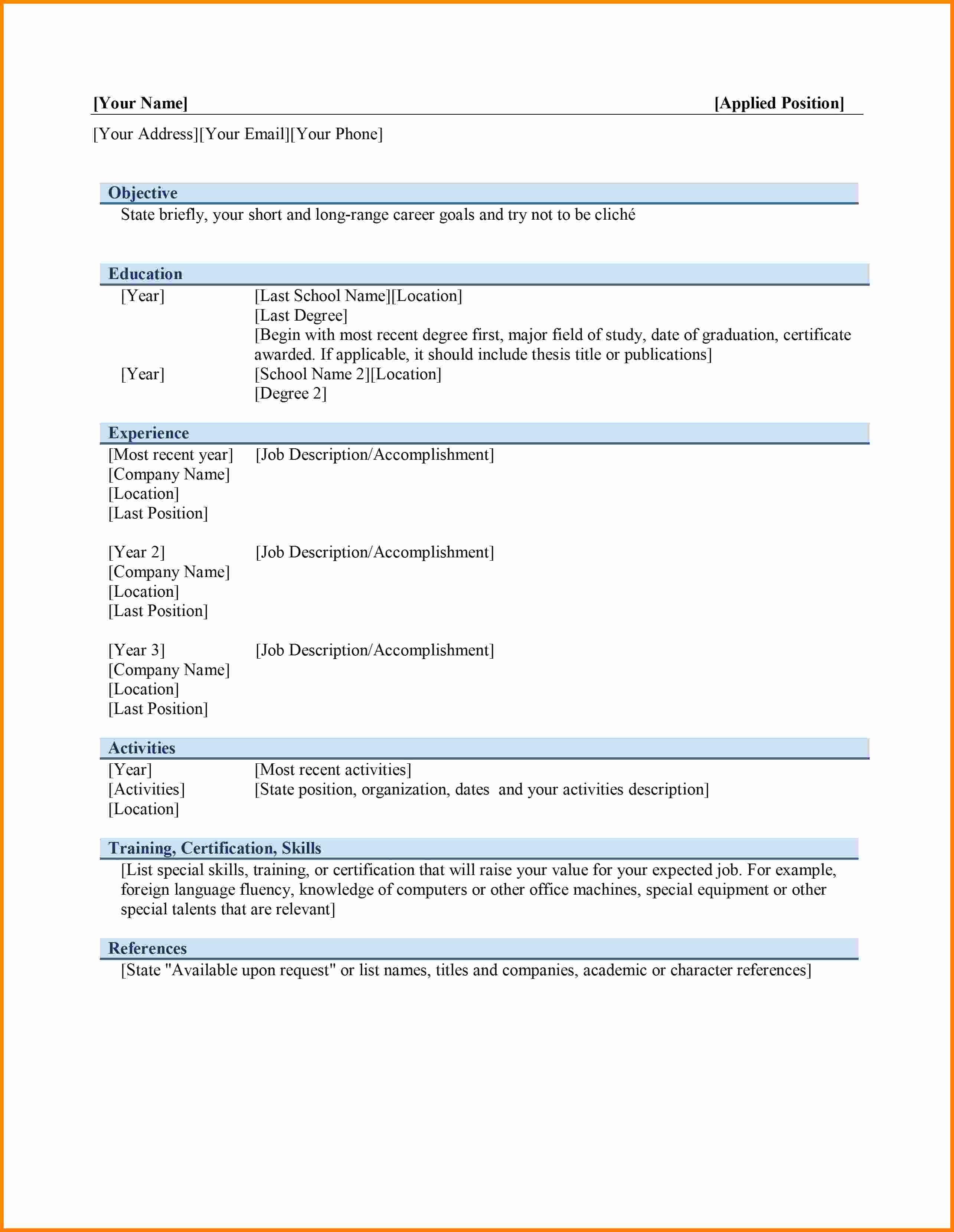 Resume Template Download Word Free Fresh 6 Curriculum Vitae In Ms Word