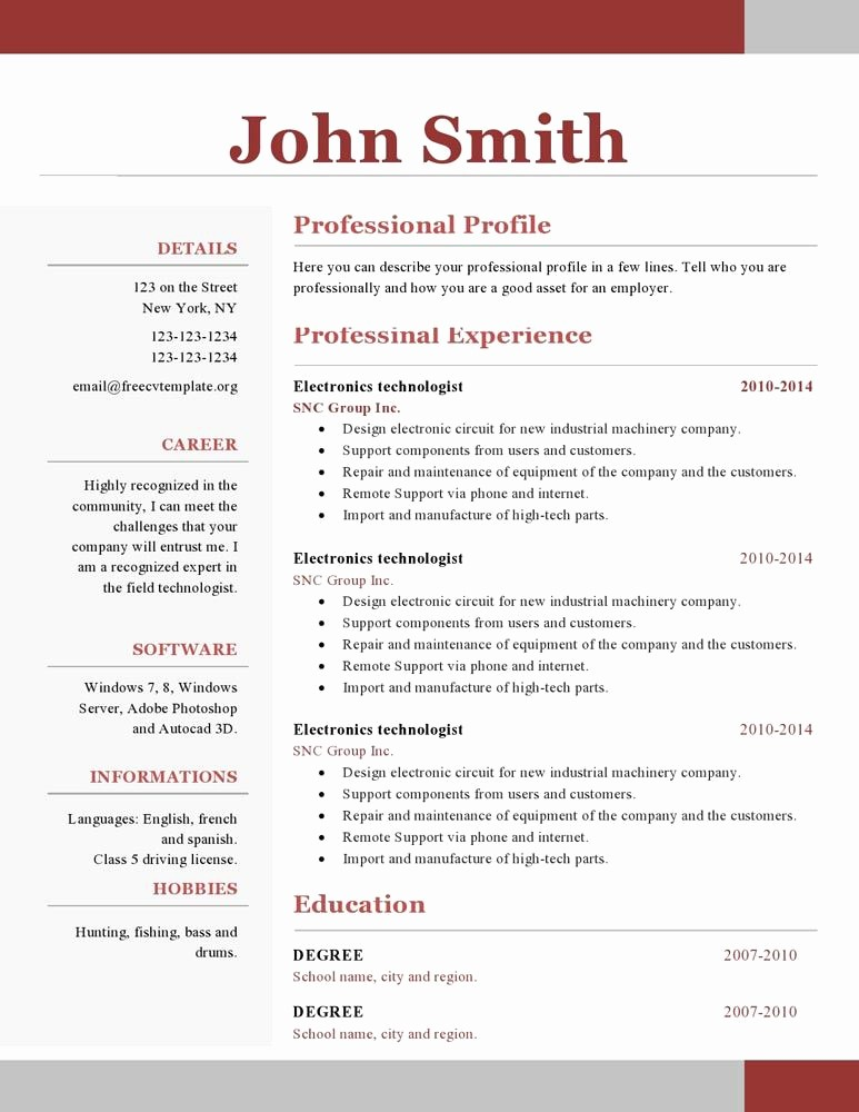 Resume Template Download Word Free Lovely E Page Resume Template Free Download Paru