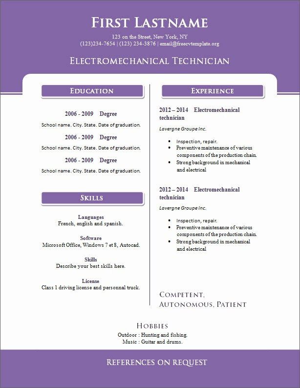 Resume Template for Microsoft Word Awesome Free Cv Templates 261 to 267 – Free Cv Template