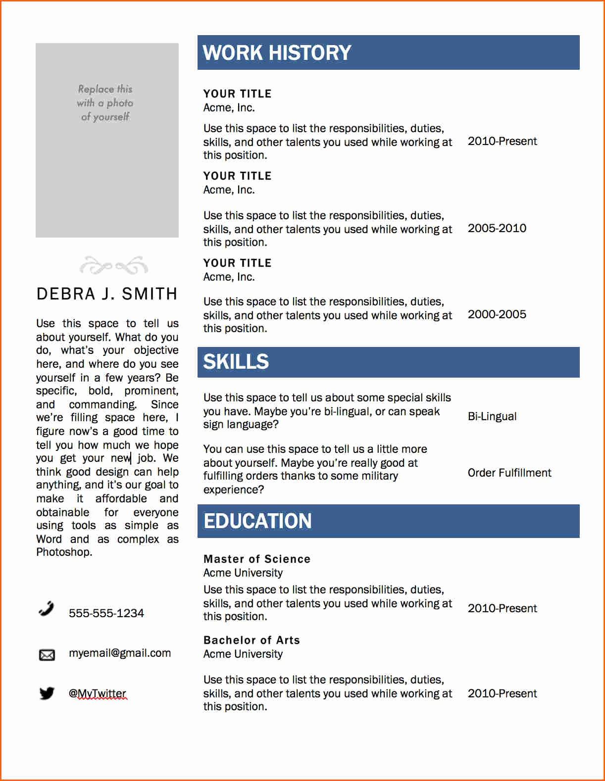 Resume Template for Microsoft Word Elegant 6 Free Resume Templates Microsoft Word 2007 Bud
