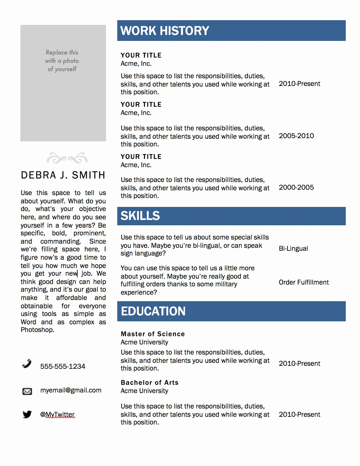 Resume Template for Microsoft Word Fresh Free Microsoft Word Resume Template — Superpixel