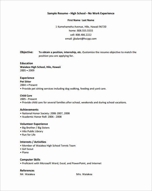 Resume Template for Microsoft Word Fresh High School Resume Template 9 Free Word Excel Pdf