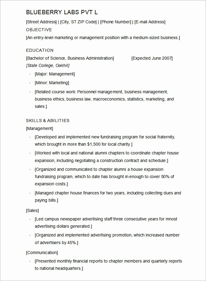 Resume Template for Microsoft Word Fresh Microsoft Word Resume Template 49 Free Samples