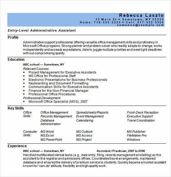 Resume Template for Microsoft Word Inspirational 9 Sample Administrative assistant Resume Templates to