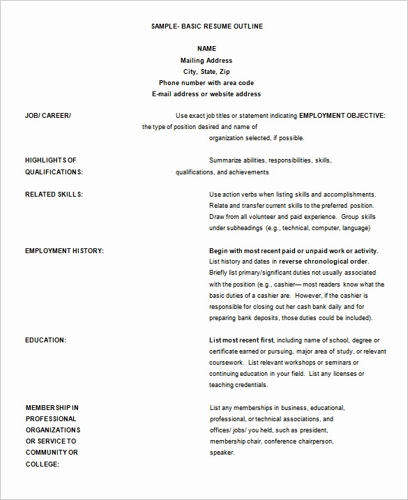 Resume Template for Microsoft Word Unique 9 Resume Outline Templates Doc Excel Pdf