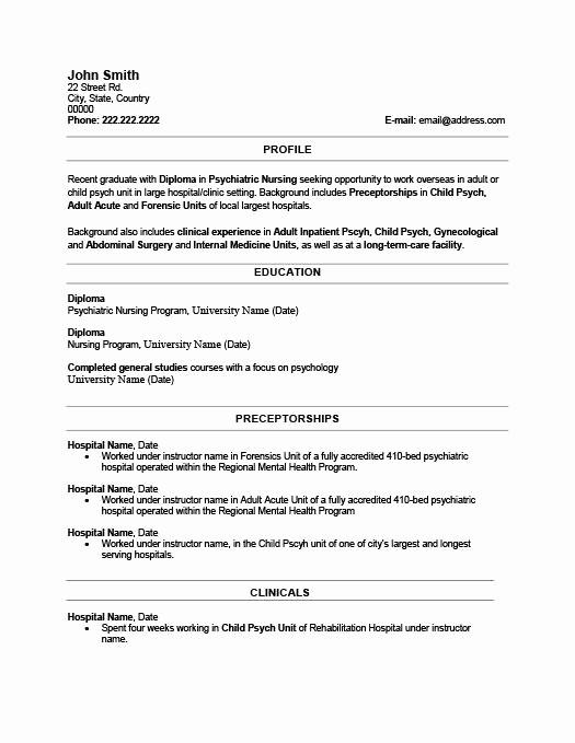 Resume Template for New Graduates Elegant Recent Graduate Resume Template Best Resume Collection