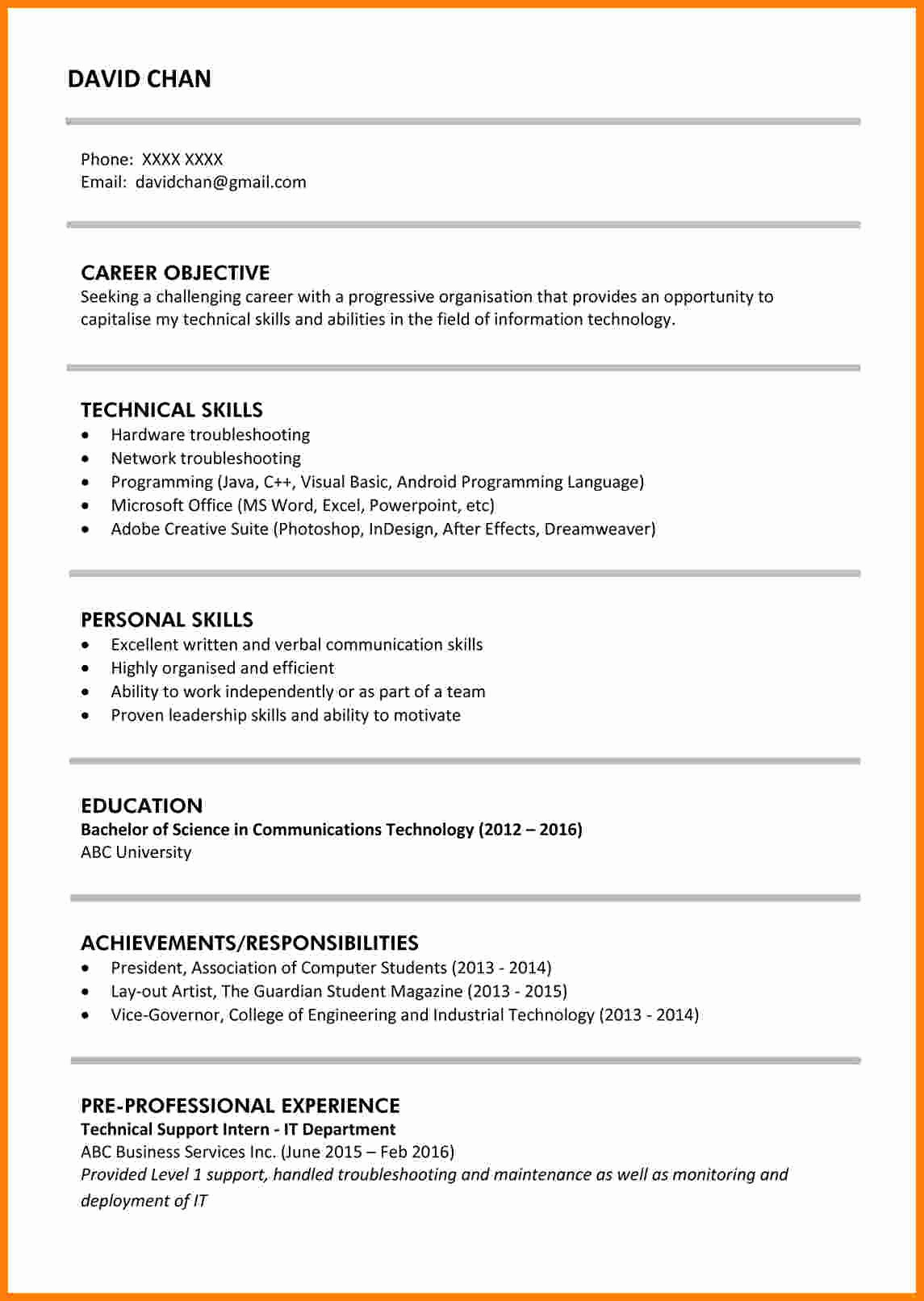 Resume Template for New Graduates Fresh 11 Cv Samples for Fresh Graduate