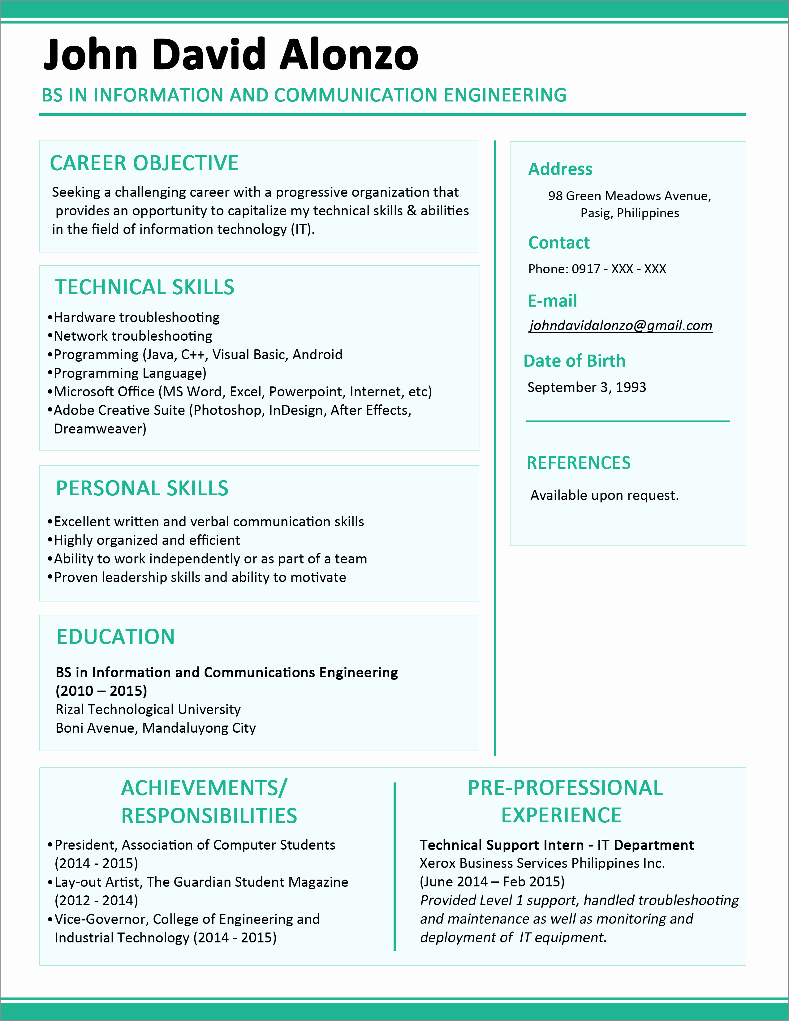 Resume Template for New Graduates Fresh Sample Resume format for Fresh Graduates E Page format