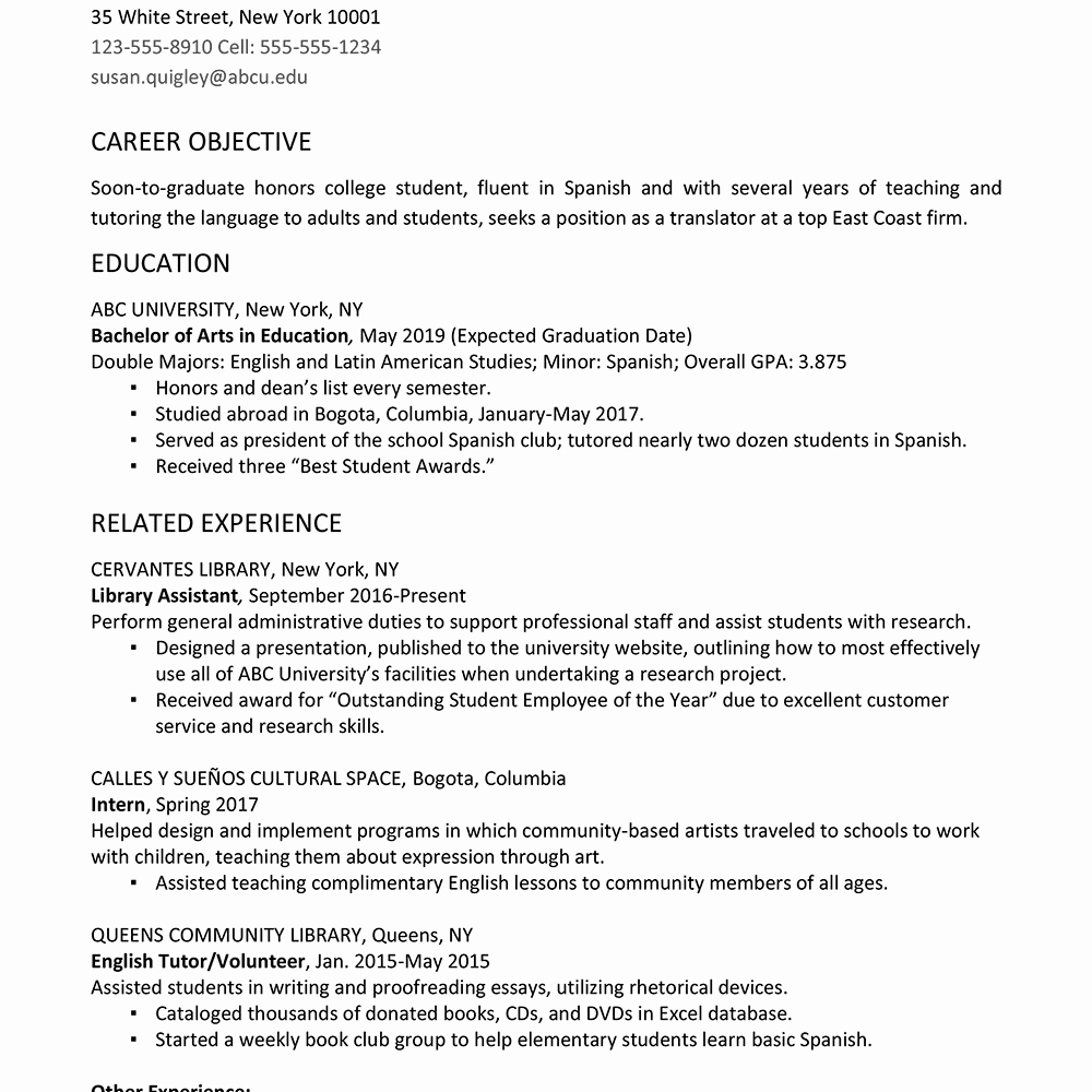 Resume Template for New Graduates Luxury College Graduate Resume Example and Writing Tips