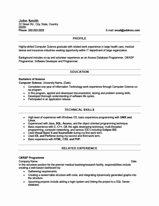 Resume Template for New Graduates New Recent Graduate Resume Objective Best Resume Collection