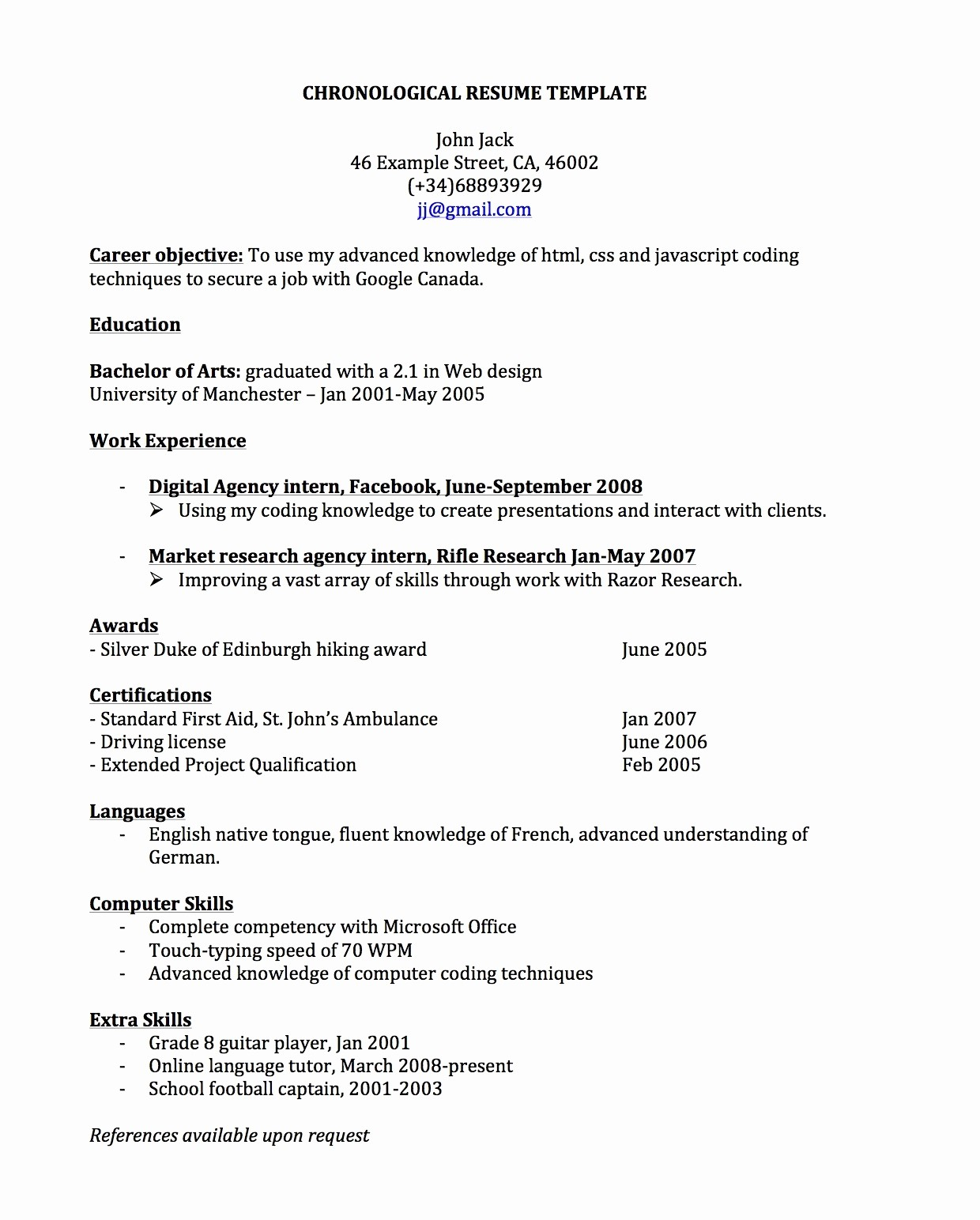 Resume Template for Office Job Awesome Chronological Resume for Canada