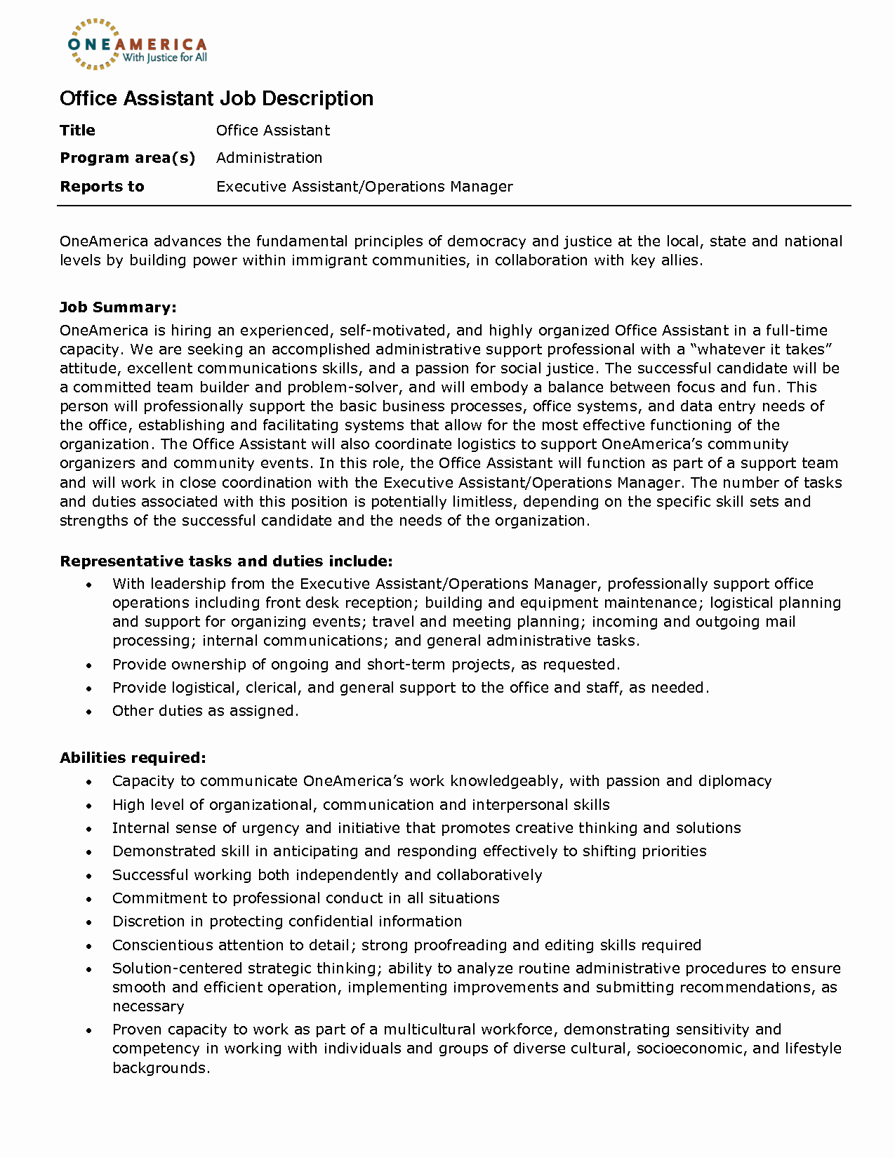 Resume Template for Office Job Awesome Fice assistant Job Description Resume 2016