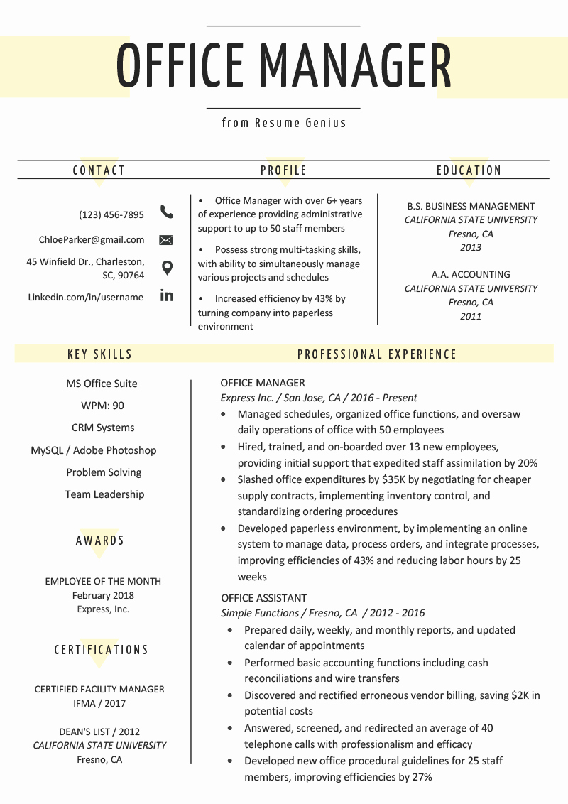 Resume Template for Office Job Awesome Fice Manager Resume Sample & Tips