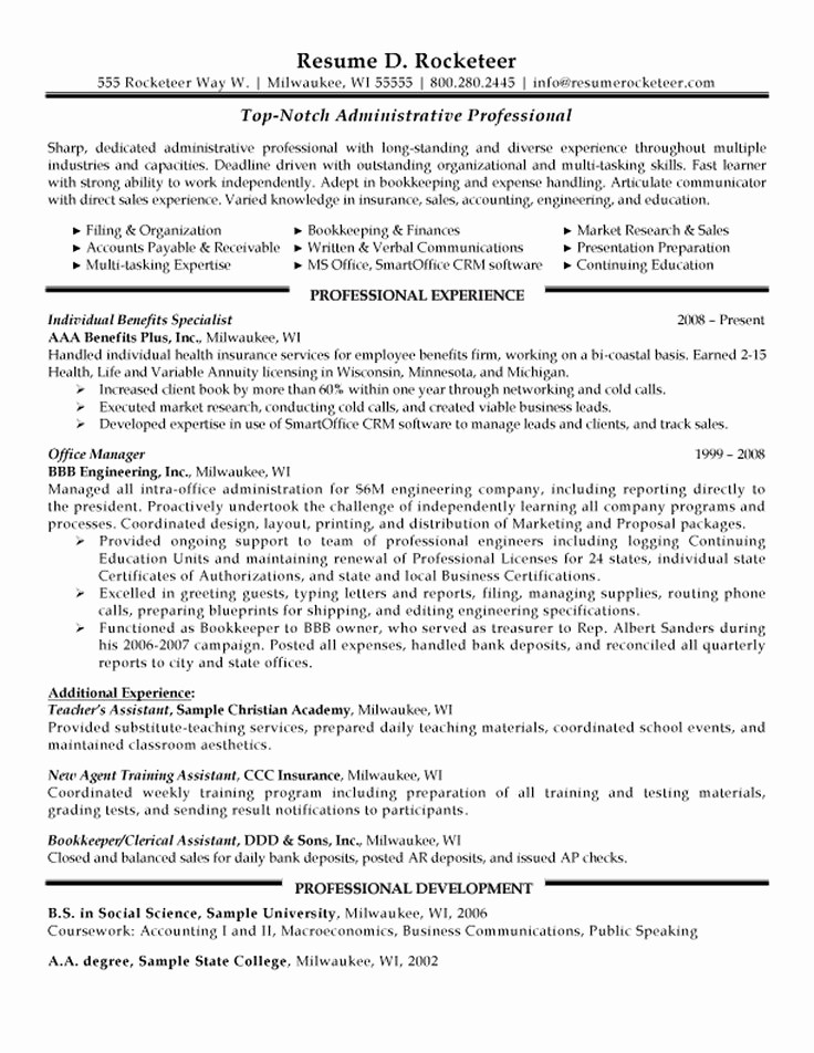 Resume Template for Office Job Beautiful Administrative Professional Resume Example